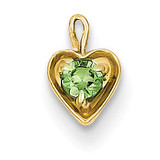 August Synthetic Birthstone Heart Charm 14k Gold M353