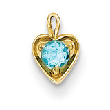 December Synthetic Birthstone Heart Charm 14k Gold M354