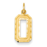 Casted Medium Diamond Cut Number 0 Charm 14k Gold MN00