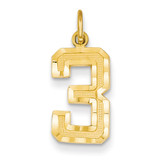 Casted Medium Diamond Cut Number 3 Charm 14k Gold MN03
