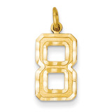 Casted Medium Diamond Cut Number 8 Charm 14k Gold MN08