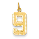 Casted Medium Diamond Cut Number 9 Charm 14k Gold MN09