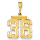 Medium Diamond-cut Number 36 Charm 14k Gold MN36