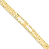 10.0mm Nugget ID Bracelet 7 Inch 14k Gold NUGID10-7