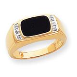 Onyx & A Quality Diamond Mens Ring 14k Gold OR257A