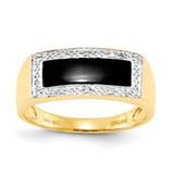 Onyx & A Quality Diamond Mens Ring 14k Gold OR258A