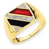 Men's Onyx & Red Agate Diamond Ring 14K Gold & Rhodium OR415A