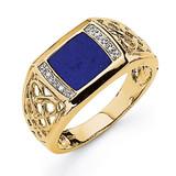 Rhodium Lapis Diamond Ring 14k Gold OR421A