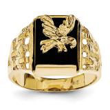 Men's Onyx Eagle Ring 14k Gold OR54