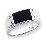 Onyx & A Quality Diamond Mens Ring 14k White Gold ORW46A