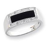 Onyx & A Quality Diamond Mens Ring 14k White Gold ORW50A