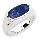 Blue Lapis Diamond Ring 14k White Gold ORW96A