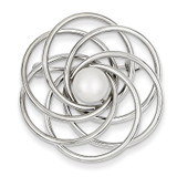 Cultured Pearl Swirl Pin 14k White Gold PIN160