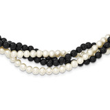 Twisted Onyx & Cultured Pearl 2 Strand Necklace 18 Inch 14k Gold PR16-18
