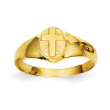 Childs Polished Cross Ring 14k Gold R186