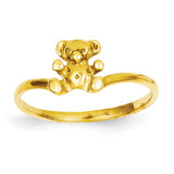 Childs Polished Teddy Bear Ring 14k Gold R194