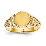 Childs Fancy Signet Ring 14k Gold R215