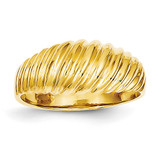 Scalloped Dome Ring 14k Gold Polished R313