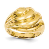 Swirl Dome Ring 14k Gold Polished R317
