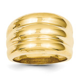 Scalloped Dome Ring 14k Gold Polished R322