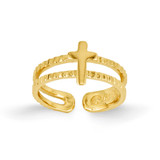Cross Toe Ring 14k Gold R397