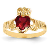 January Birthstone Claddagh Ring 14k Gold R487