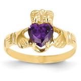 February Birthstone Claddagh Ring 14k Gold R488