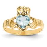March Birthstone Claddagh Ring 14k Gold R489