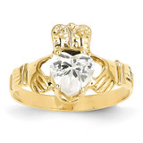 April Birthstone Claddagh Ring 14k Gold R490