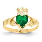 May Birthstone Claddagh Ring 14k Gold R491