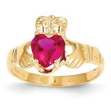 July Birthstone Claddagh Ring 14k Gold R493
