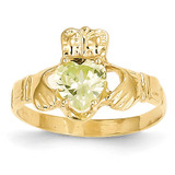 August Birthstone Claddagh Ring 14k Gold R494