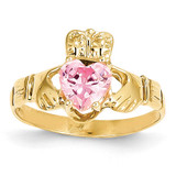 October Birthstone Claddagh Ring 14k Gold R496