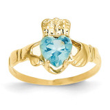 December Birthstone Claddagh Ring 14k Gold R498