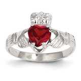January Birthstone Claddagh Ring 14k White Gold R499