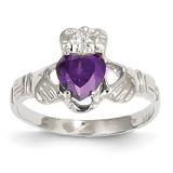 February Birthstone Claddagh Ring 14k White Gold R500