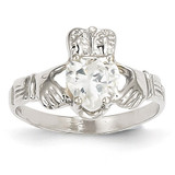 April Birthstone Claddagh Ring 14k White Gold R502