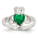 May Birthstone Claddagh Ring 14k White Gold R503