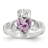 June Birthstone Claddagh Ring 14k White Gold R504