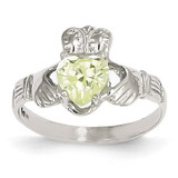 August Birthstone Claddagh Ring 14k White Gold R506