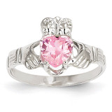 October Birthstone Claddagh Ring 14k White Gold R508