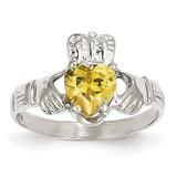 November Birthstone Claddagh Ring 14k White Gold R509