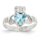 December Birthstone Claddagh Ring 14k White Gold R510