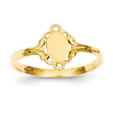 Filigree Oval Polished Center Baby Signet Ring 14k Gold R519