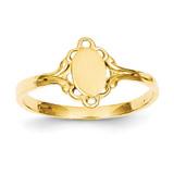 Filigree Oval Polished Center Baby Signet Ring 14k Gold R519