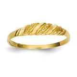Textured Ridged Dome Ring 14k Gold Diamond-cut R544