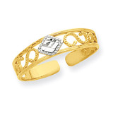 Diamond-Cut Toe Ring 14K Gold & Rhodium R552