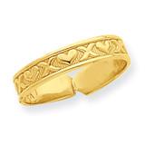 X & Hearts Toe Ring 14k Gold R561