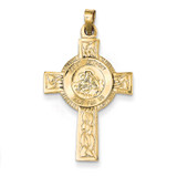 Cross with St Anthony Medal Pendant 14k Gold REL106