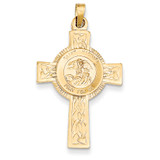 Cross with Saint Michael Medal Pendant 14k Gold REL111